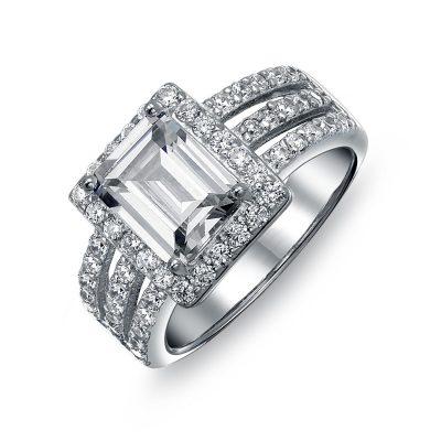 Emerald Cut Diamond Halo Wedding Engagement Ring 925 Sterling Silver