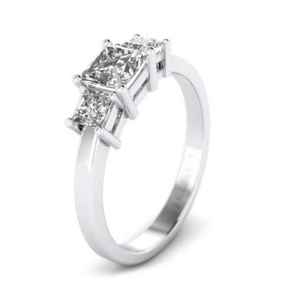 Sterling Silver Princess Cut Diamond 3-Stone Engagement Ring Set 2.60 Carat