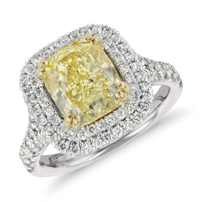Cushion Canary Yellow Diamond Party Engagement Ring 3.98 Ctw