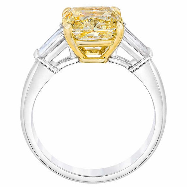 4.30 Ctw Cushion Cut Fancy Yellow Diamond 3 Stone Promise Engagement Ring