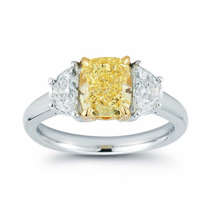 3.65 Ctw Cushion Cut Fancy Yellow Diamond 3 Stone Wedding Engagement Ring