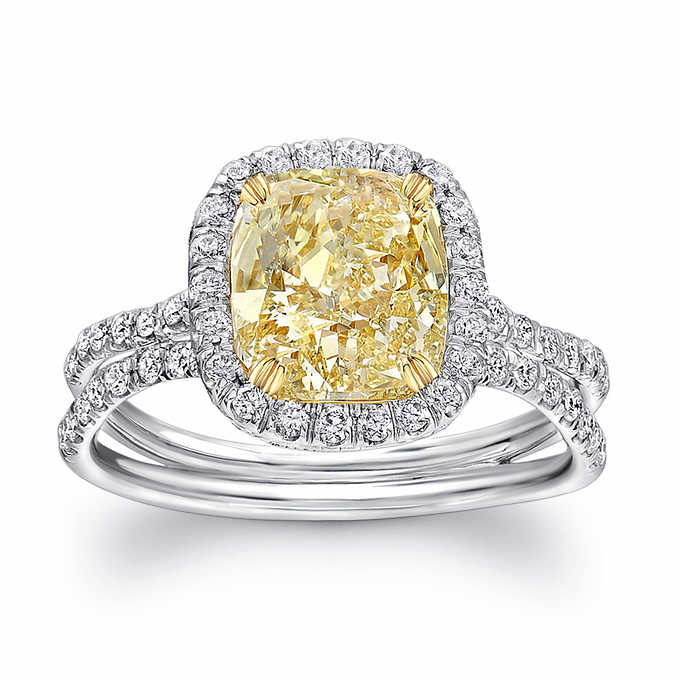 4.95 Ctw Cushion Cut Fancy Yellow Diamond Cocktail Party Engagement Ring