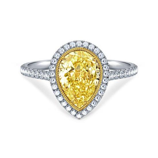 Pear Cut Fancy Yellow Halo Diamond Wedding Engagement Ring