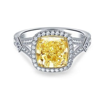 5.60Ctw CUSHION CUT Yellow Halo Diamond Wedding Engagement Ring