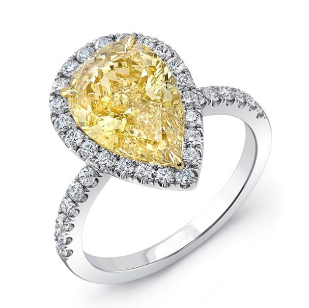 5.42 Ctw Pear Cut Yellow Halo Diamond Party Engagement Ring (Copy)