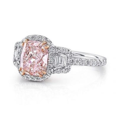 CUSHION Pink Diamond 3-Stone Engagement Ring 925 Sterling Silver