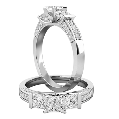 White Princess Cut Wedding Micro Pave Engagement Ring 925 Sterling Silver