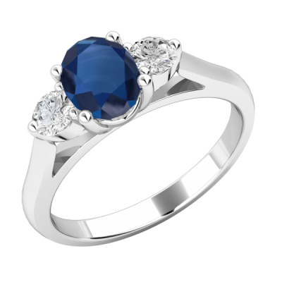 Blue & White Diamond Engagement Ring 925 Sterling Silver