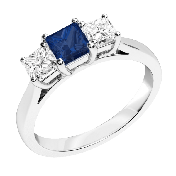 Blue & White Princess Cut 3-Stone Engagement Ring 925 Sterling Silver
