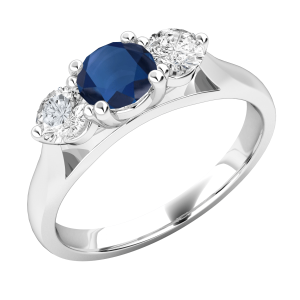 Blue & White Diamond Cut 3-Stone Engagement Ring 2.75Ctw