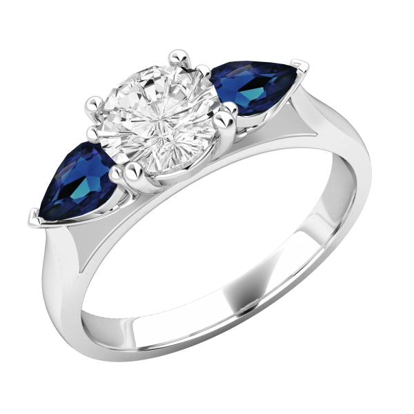 3 Stone White Round Diamond Engagement Ring 2.55 Ctw