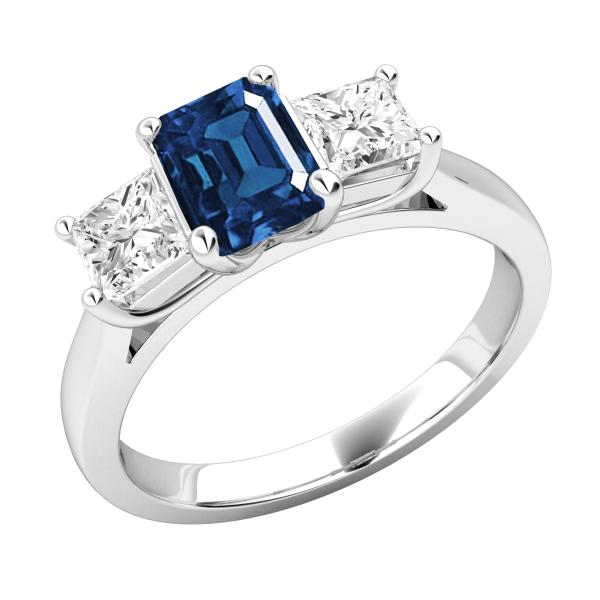 Emerald & Princess Cut Diamond Engagement Ring 3.20 Ctw