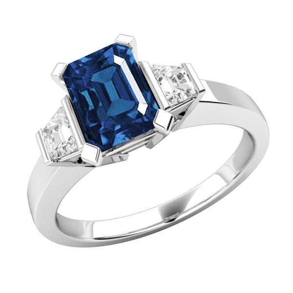 4.20 Blue Emerald Cut Three Stone Engagement Ring
