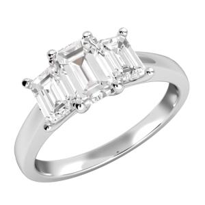 3 Stone Emerald Cut Diamond Wedding Engagement Ring 4.80 Ctw