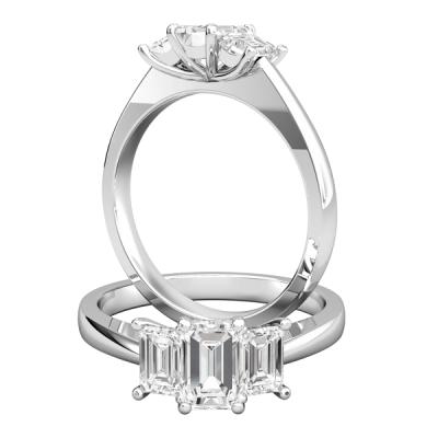 3 Stone Emerald Cut Diamond Wedding Engagement Ring 2.50 Ctw