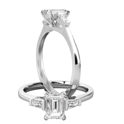 Sterling Silver Emerald Diamond Solitaire Ring 2.4 Ctw