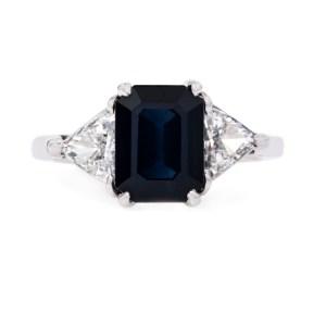 Blue Emerald Cut Diamond 3-Stone Solitaire Ring 3.93 Ctw