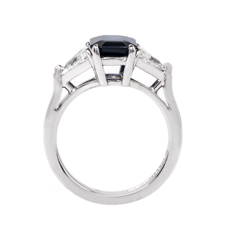 Blue Emerald Cut Diamond 3-Stone Solitaire Ring 3.00 Ctw