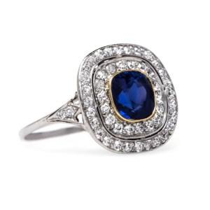Cushion Cut Diamond Bezel Art Deco Ring