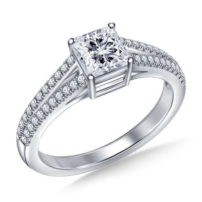 White Princess Cut ENGAGEMENT RING