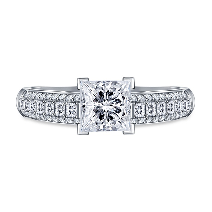 White Princess Cut Diamond Solitaire Engagement Ring