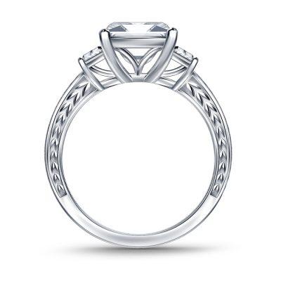 White Asscher Cut Three Stone Engagement Ring 3.30 Ctw