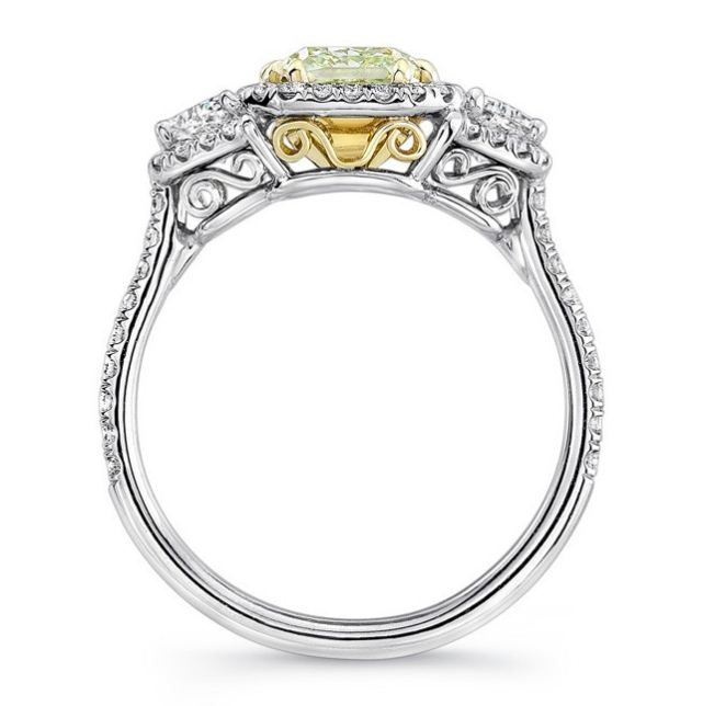 Fancy Yellow Cushion Cut Wedding Engagement Ring