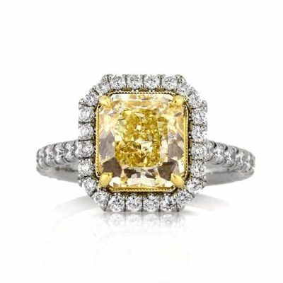 Radiant Cut Fancy Yellow Engagement Ring 3.80Ctw