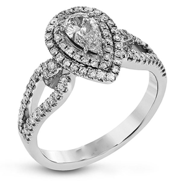 Sterling Silver Pear Cut Diamond Double Halo Engagement Ring 2.50