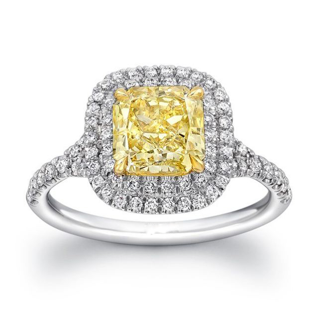 Yellow Cushion Diamond Double Halo Engagement Ring