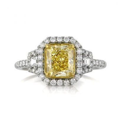 Yellow Radiant Cut Diamond Halo Engagement Ring 3.55Ctw