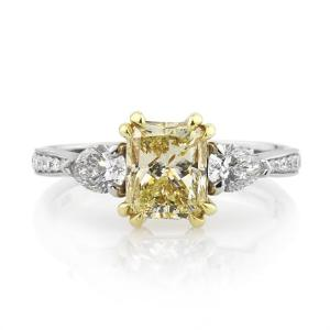 Yellow Radiant & White Pear Engagement Ring