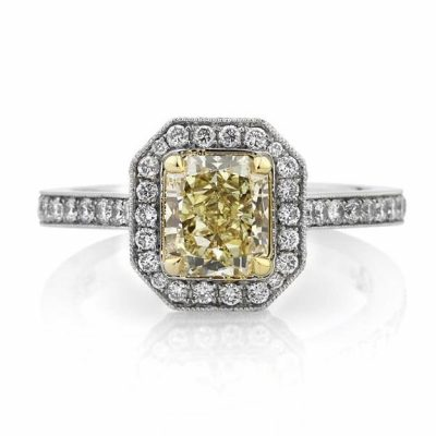 Yellow Radiant Diamond Halo Micro Pave Engagement Ring
