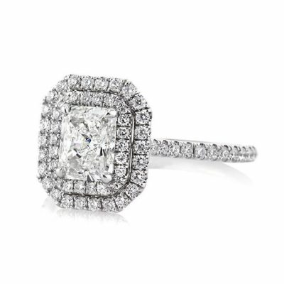 Radiant Diamond Halo Micro Pave Engagement Ring 2.90Ctw