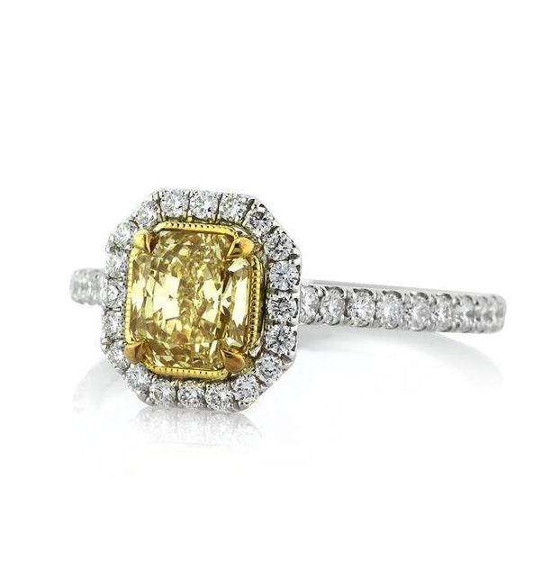 Radiant Cut Yellow Diamond Halo Engagement Ring Two Tone