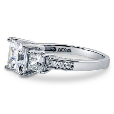 Three Stone Princess Cut Diamond  Engagement Ring 925 Sterling Silver
