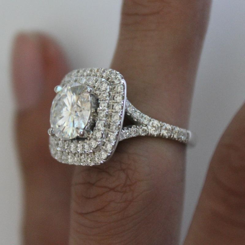 2Ct Round Moissanite Diamond Double Halo Engagement Ring 925 Sterling Silver