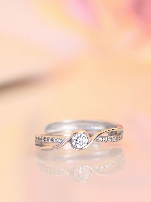 Fancy Round Cut Diamond Engagement & Promise Ring 925 Sterling Silver