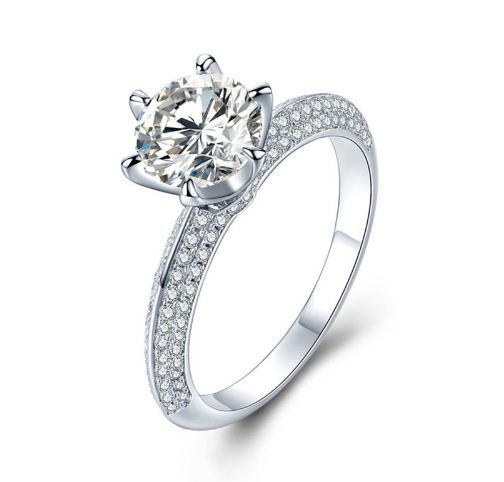 Solitaire Round Cut Pave Diamond Engagement & Propose Ring 925 Sterling Silver