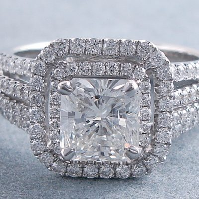 Radiant Cut Double Halo Diamond Engagement Wedding Ring 925 Sterling Silver