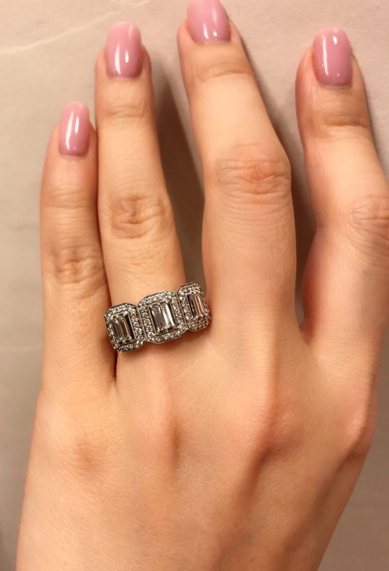 3 Stone Emerald Cut Diamond Engagement Ring 925 Sterling Silver 3.34CT