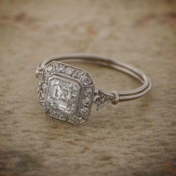 Bezel Asscher Cut Diamond Vintage Style Engagement Ring 925 Sterling Silver