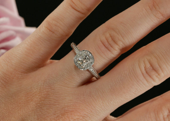 Cushion Cut Diamond Engagement Ring 925 Sterling Silver