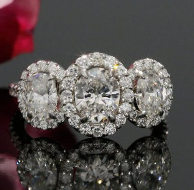 3 Stone Oval Cut Halo Diamond Engagement Anniversary Ring 925 Sterling Silver