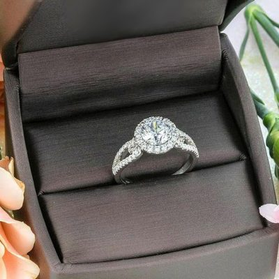 Fancy Round Cut Halo Diamond Engagement Anniversary Ring 925 Sterling Silver 2.85Ct