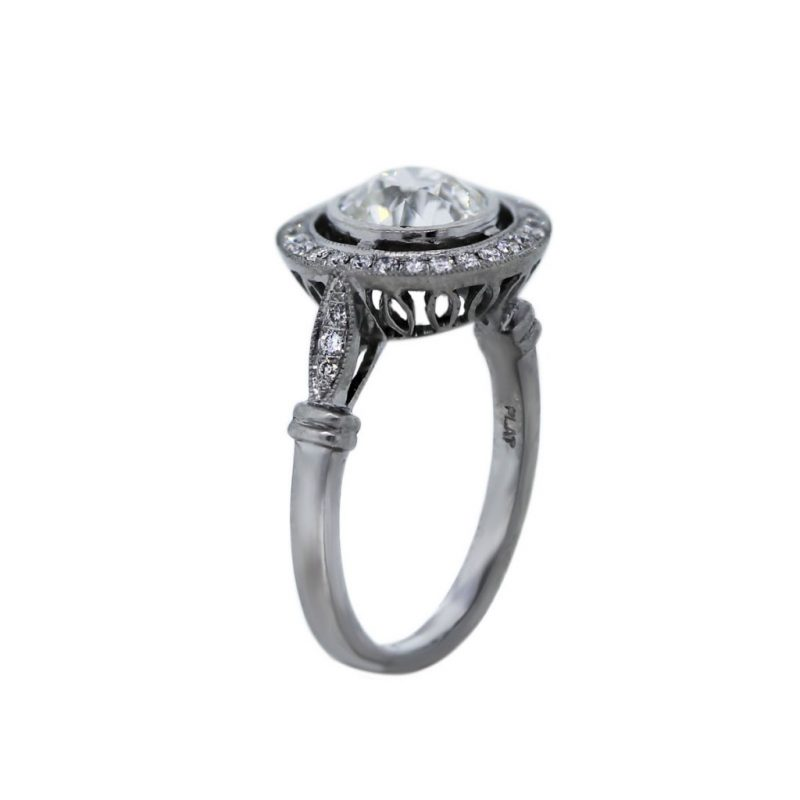2.30Ct Bezel Round Cut Halo Diamond Engagement Anniversary Ring 925 Sterling Silver
