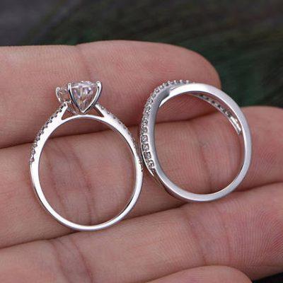 Fancy Oval Cut Diamond Bridal Wedding Band Ring Set 925 Sterling Silver