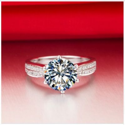 Fancy Solitaire Round Cut Pave Diamond Engagement Anniversary Ring 925 Sterling Silver