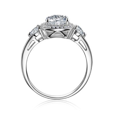 3 Stone 1.70CT Excellent White Moissanite Engagement Wedding Ring 925 Sterling Silver