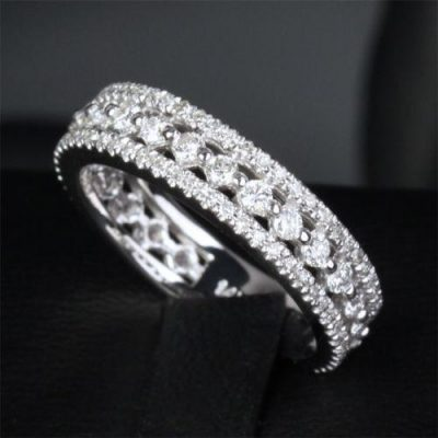 Round Cut Diamond Fancy Wedding Band Ring & Anniversary Band Ring 925 Sterling Silver